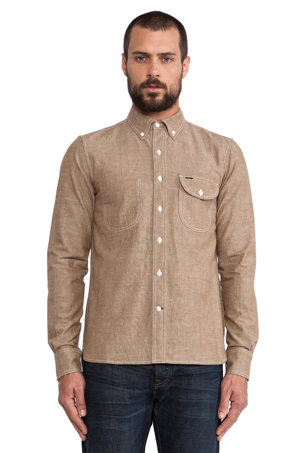 Rogue Territory Jumper Shirt Long Sleeve in Brown Chambray