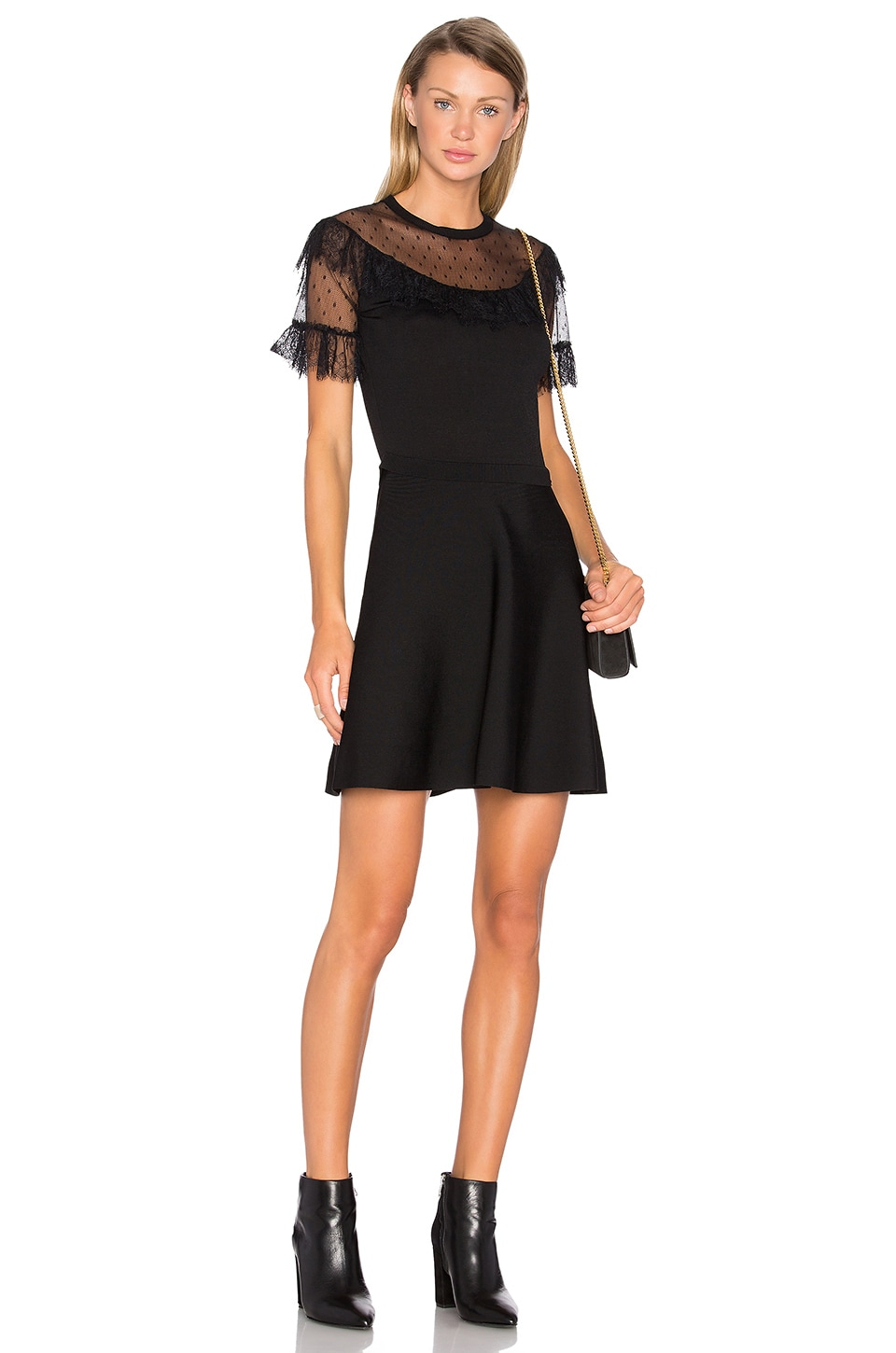 Red Valentino Tulle Bodice Fit & Flare Dress in Nero