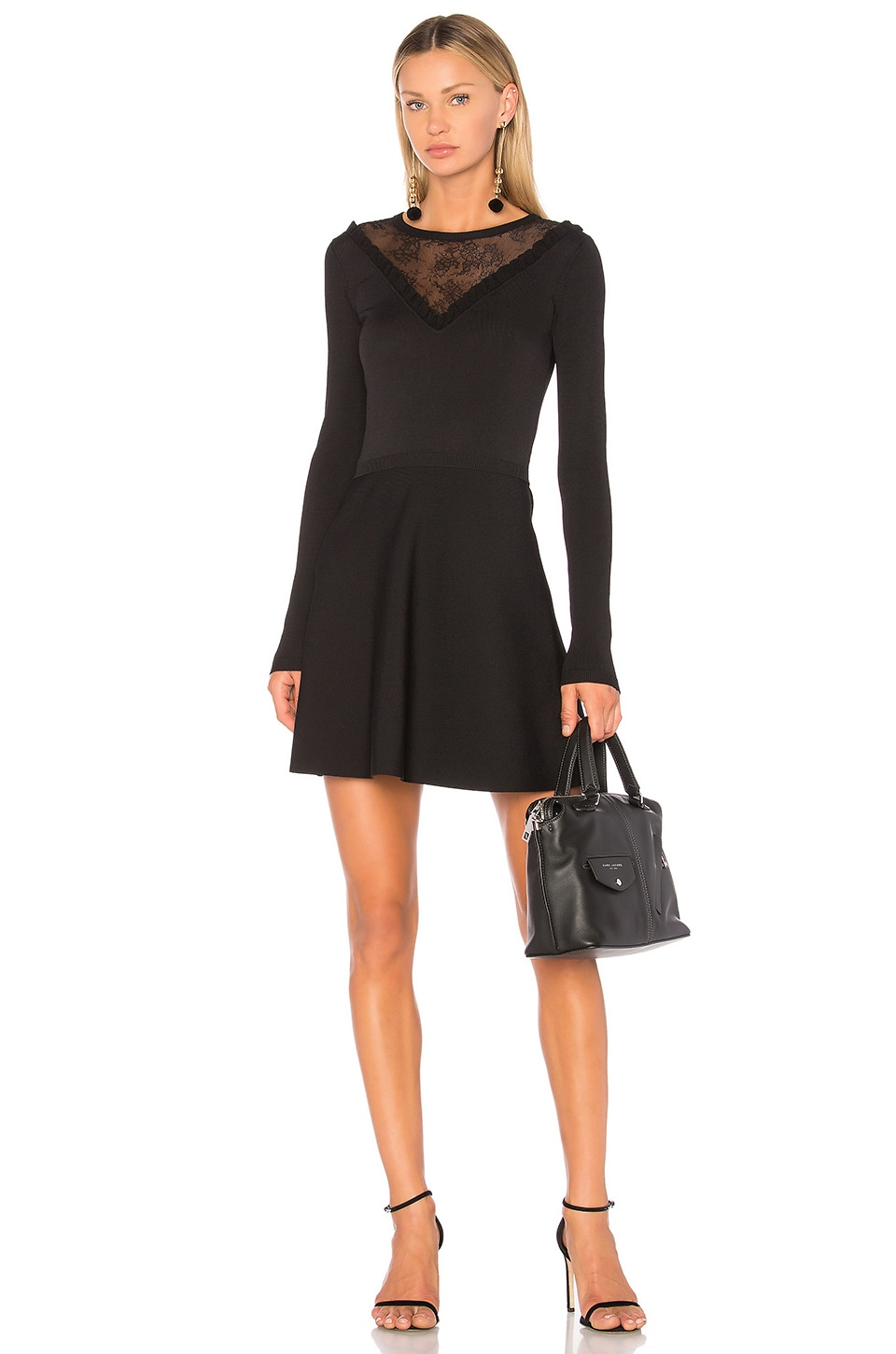 Lace Insert Mini Dress by Red Valentino