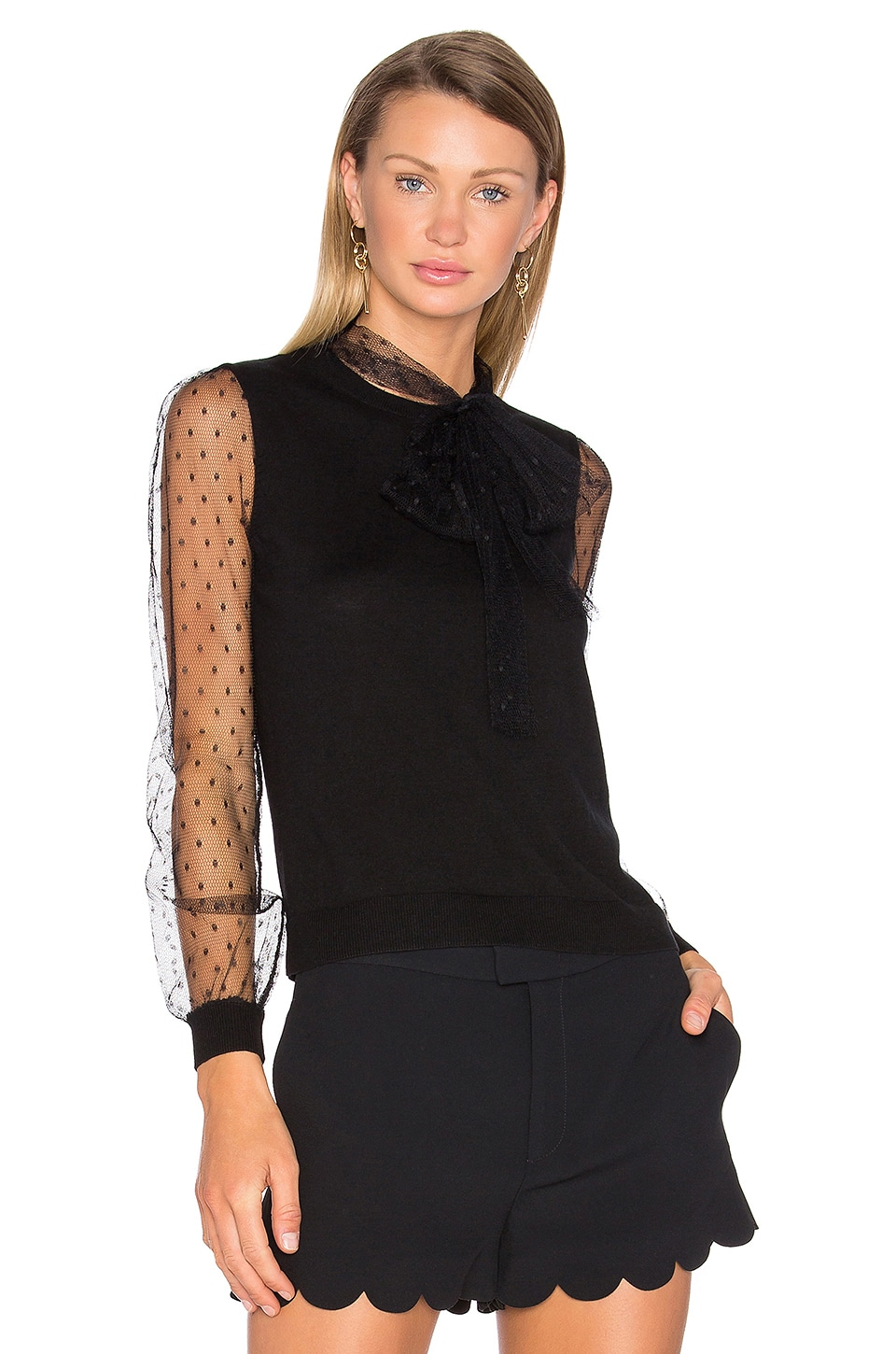Red Valentino Tie Neck Sweater in Nero