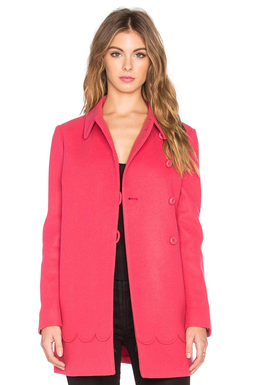 Red Valentino Scalloped A-Line Coat in Fuchsia