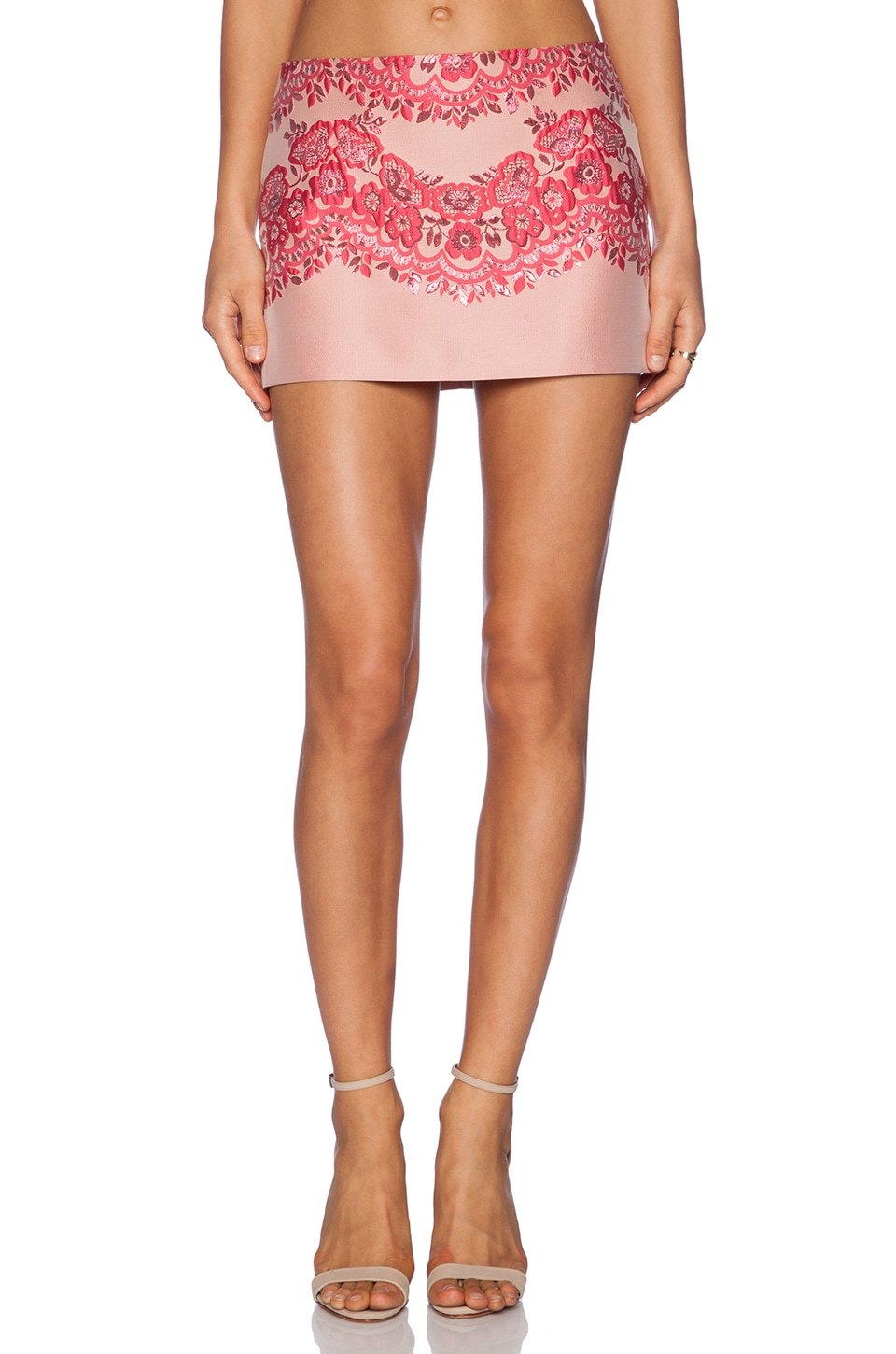 Red Valentino Lace Brocade Mini Skirt in Ribes