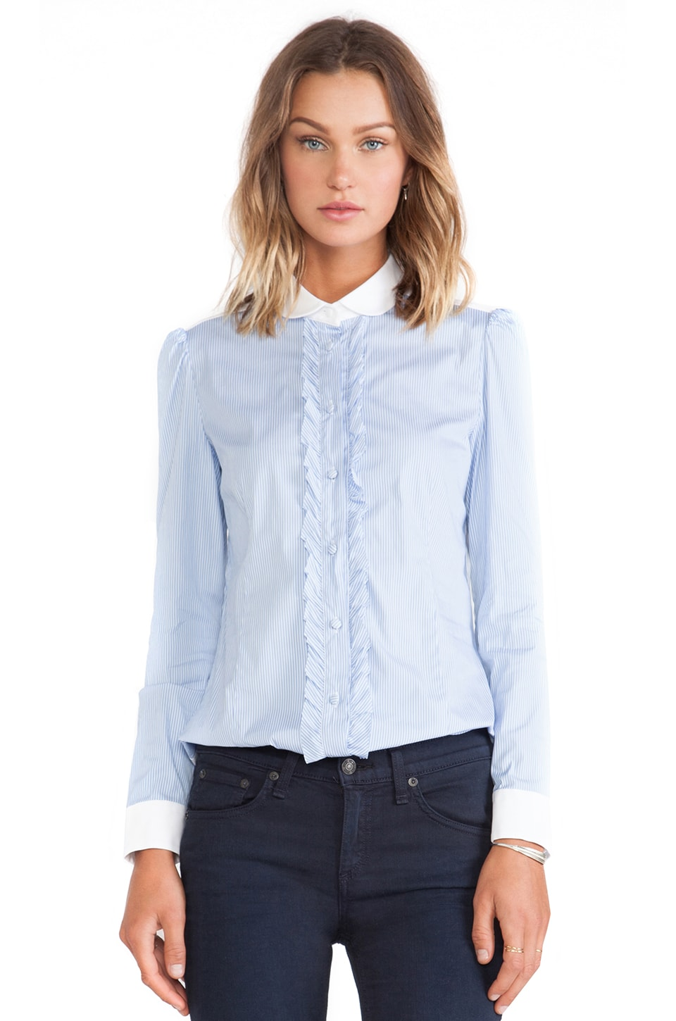 Red Valentino Ruffle Button Down Shirt in Blue