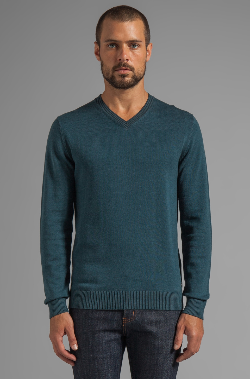 RVCA Plate Sweater Pullover V Neck in Desert Blue