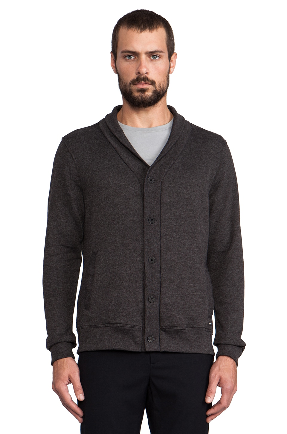 RVCA Tappy Cardigan in Black Heather