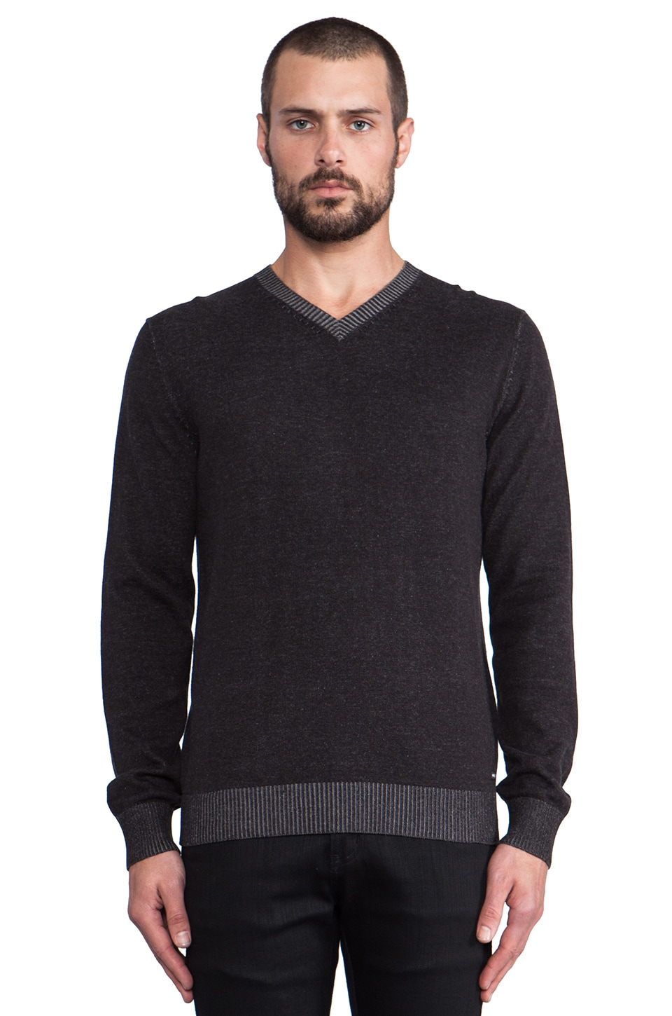 RVCA Plate Sweater V-Neck in Black