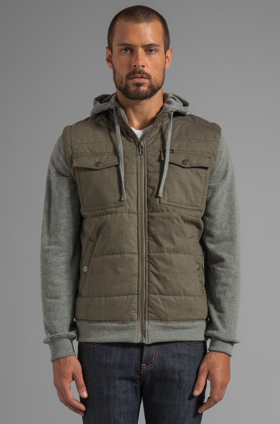 RVCA Puffer Bedford Jacket in Dark Khaki