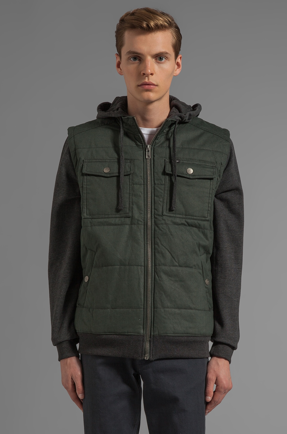 RVCA Puffer Bedford Jacket in Dark Charcoal