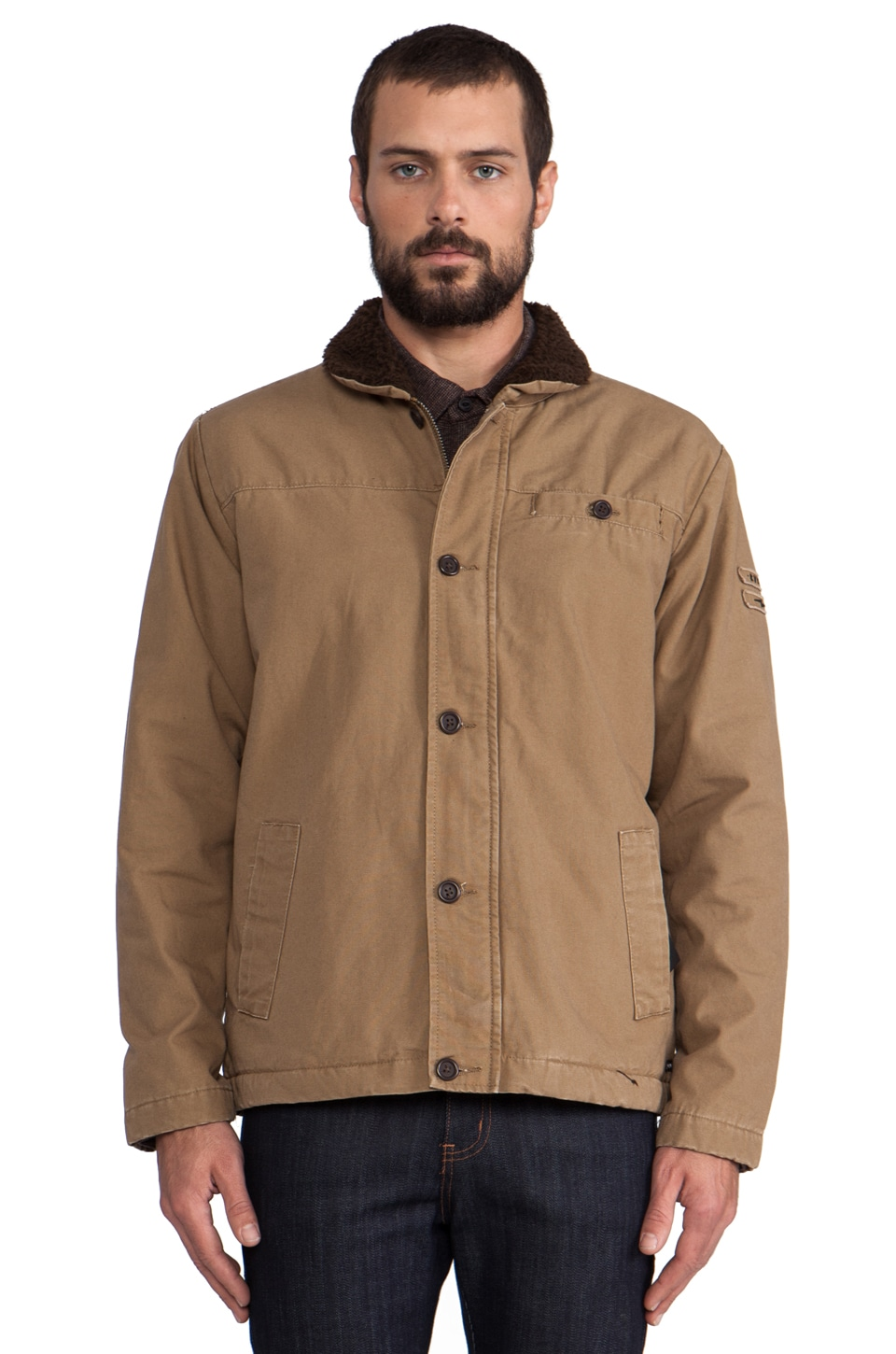 RVCA Faux Sherpo Jacket in Antique Bronze