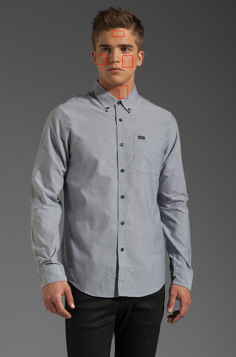 RVCA That'll Do Oxford L/S Shirt in Pavement