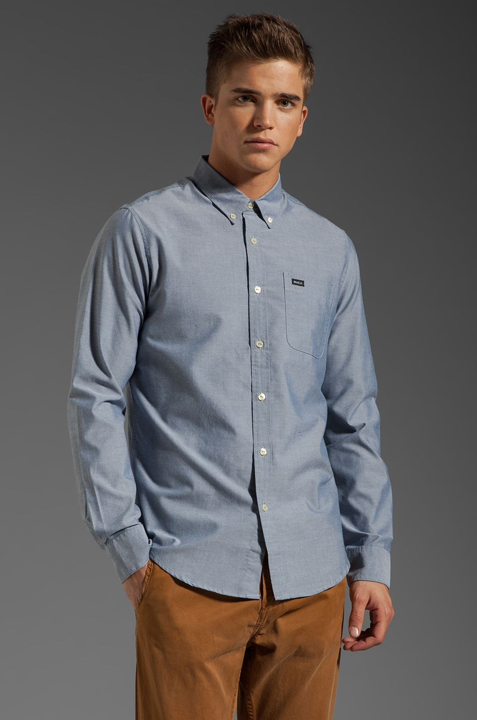 RVCA That'll Do Oxford L/S Shirt in Distant Blue