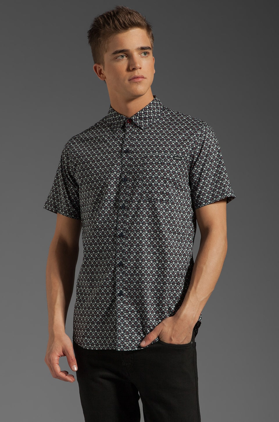 RVCA Dimension S/S Shirt in Slate