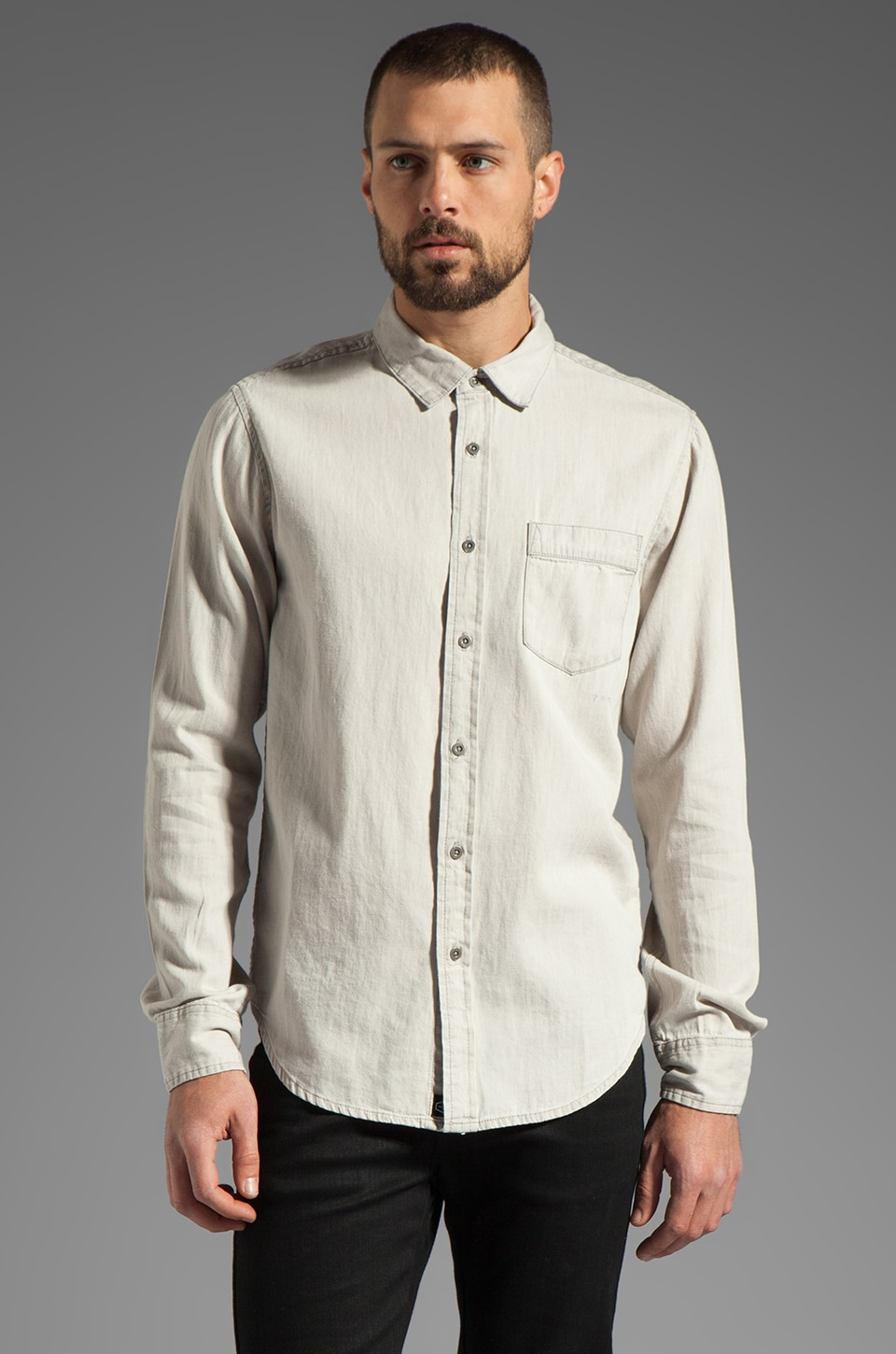 RVCA Bleach L/S Shirt in Natural