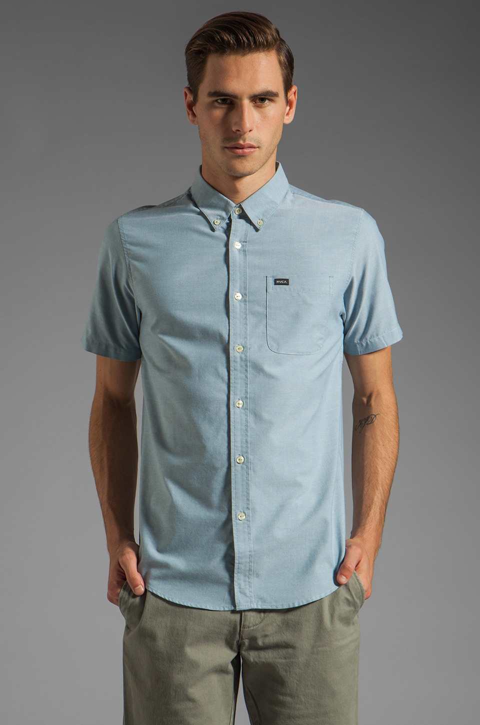 RVCA That'll Do Oxford S/S Shirt in Aegean Blue