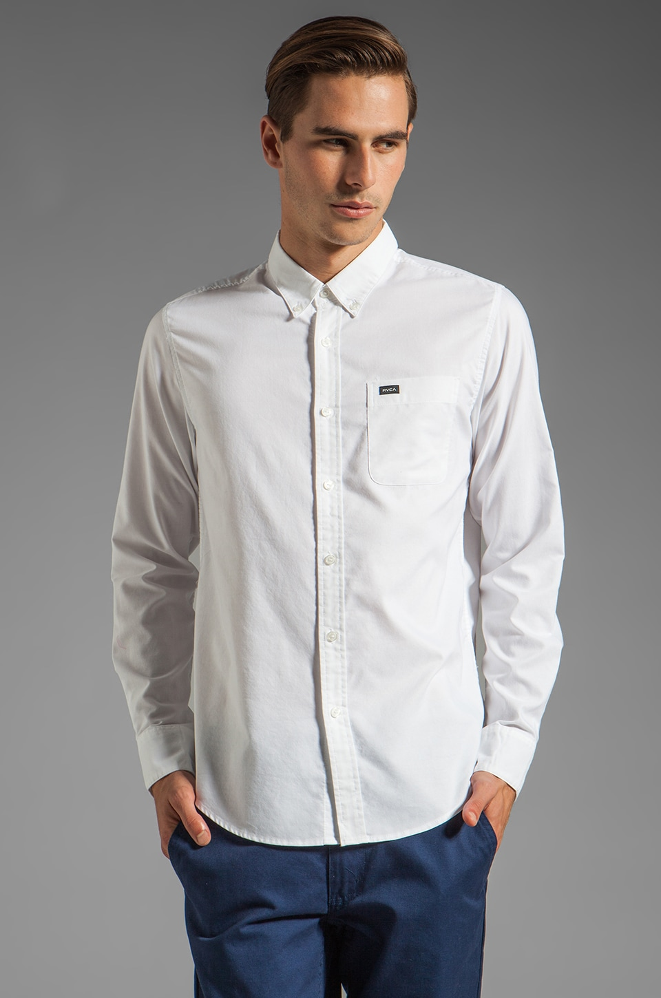 RVCA That'll Do Oxford L/S Shirt in White