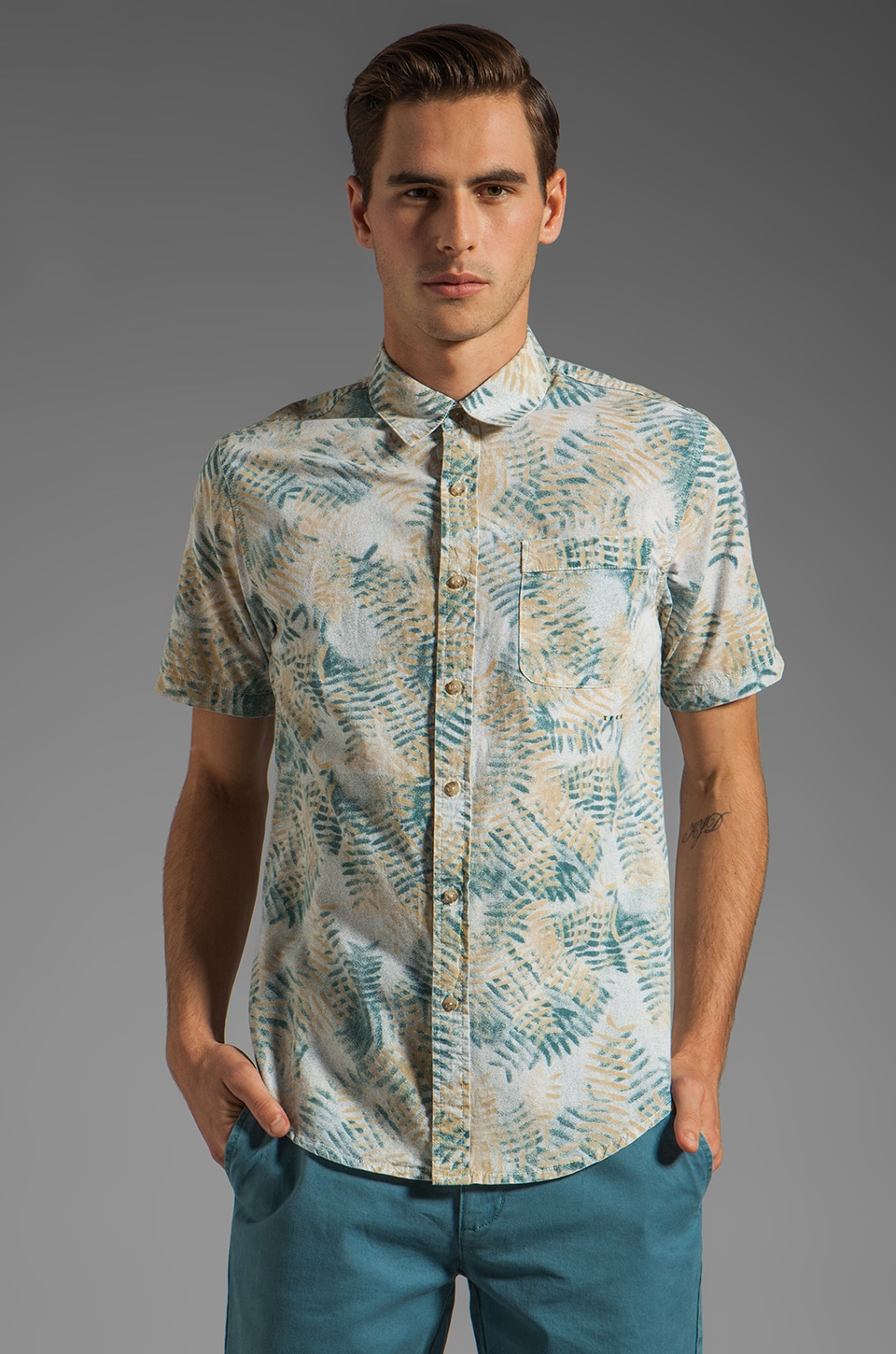 RVCA Fern N Burn S/S Shirt in Vintage White