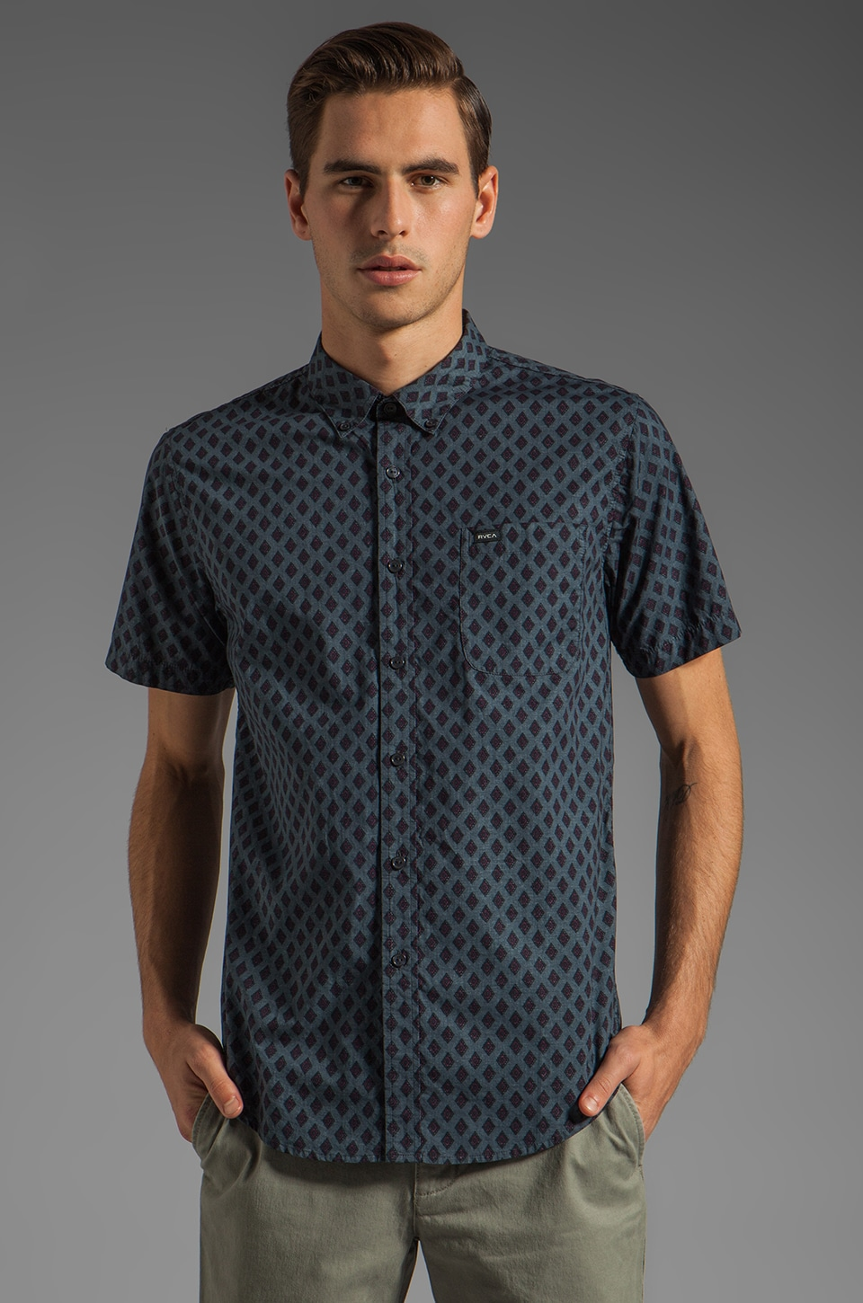 RVCA Falling S/S Shirt in Ink
