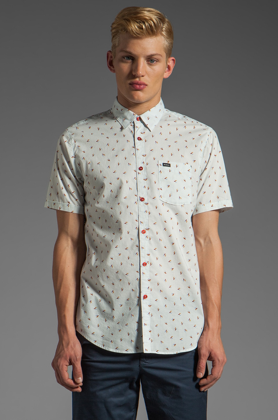 RVCA Avalon S/S Shirt in Cement