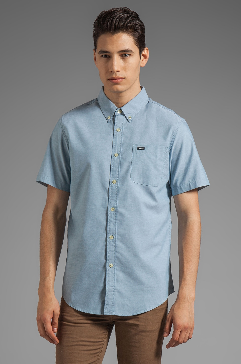RVCA That'll Do Oxford Short Sleeve in Aegean Blue
