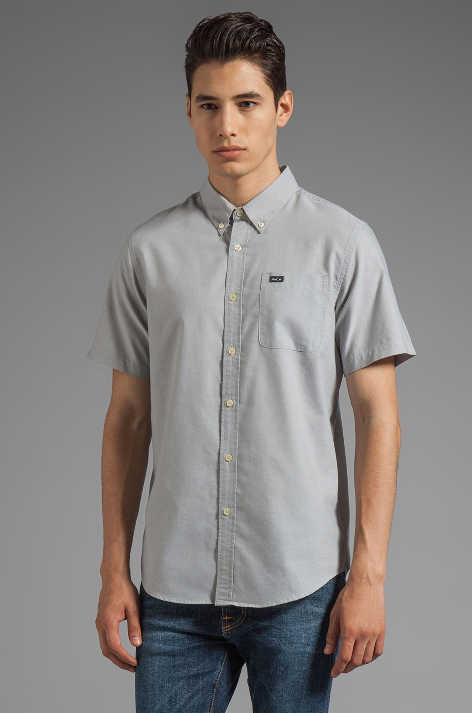 RVCA That'll Do Oxford Short Sleeve in Olive Mute