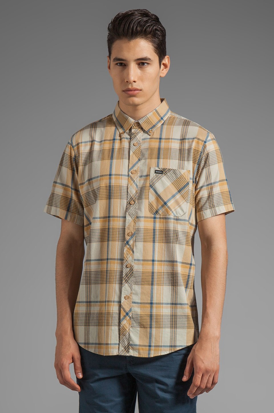 RVCA Nettle Short Sleeve Shirt in Deep Antelope