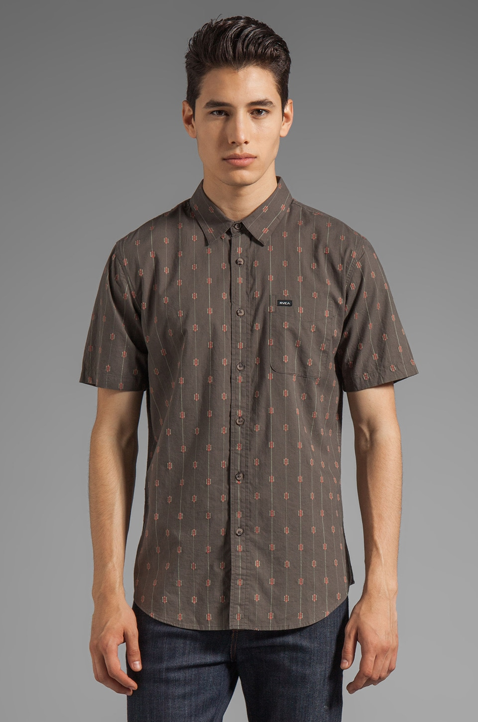 RVCA Sumac Short Sleeve Shirt in Dark Charcoal