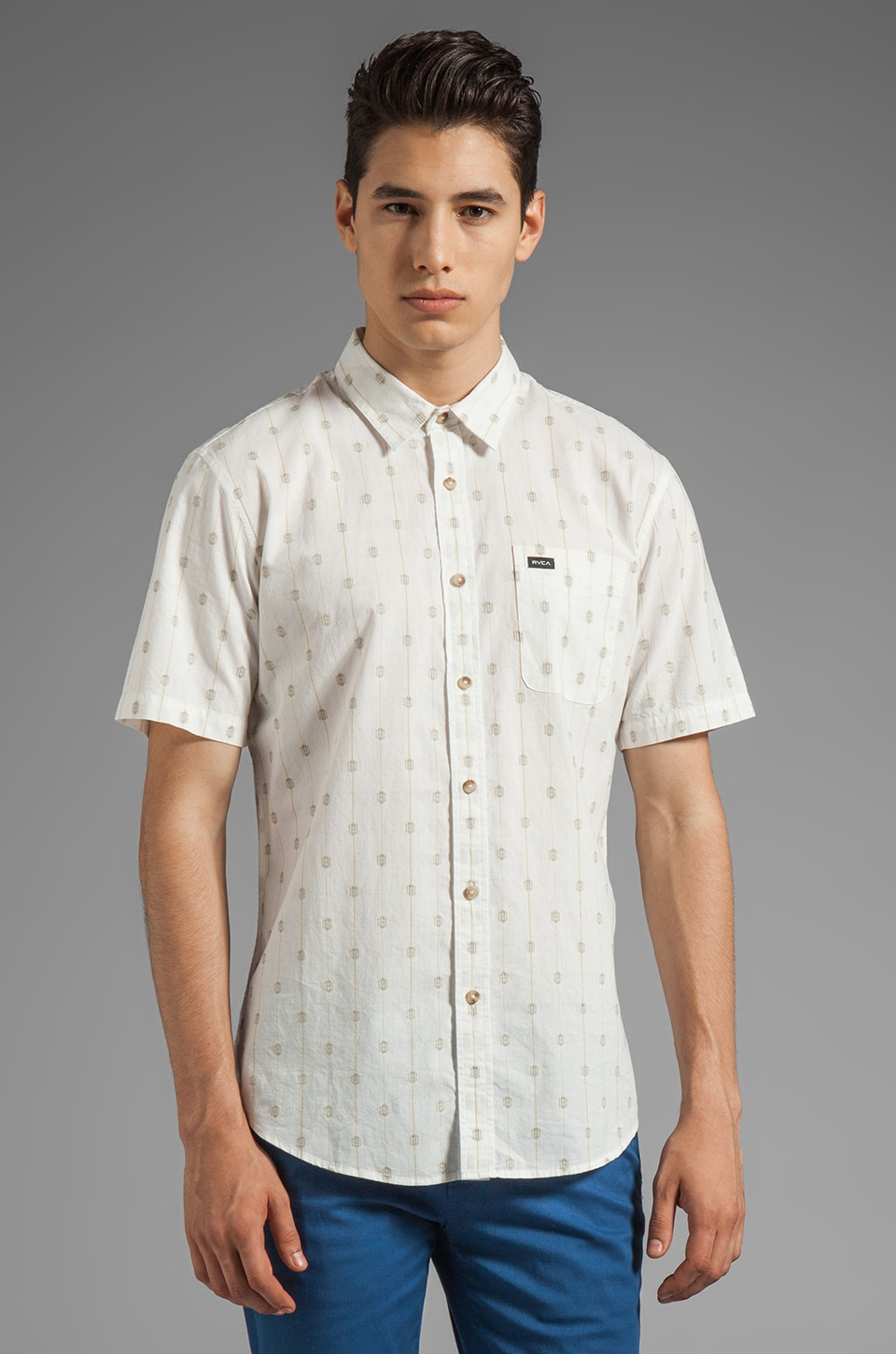 RVCA Sumac Short Sleeve Shirt in Vintage White