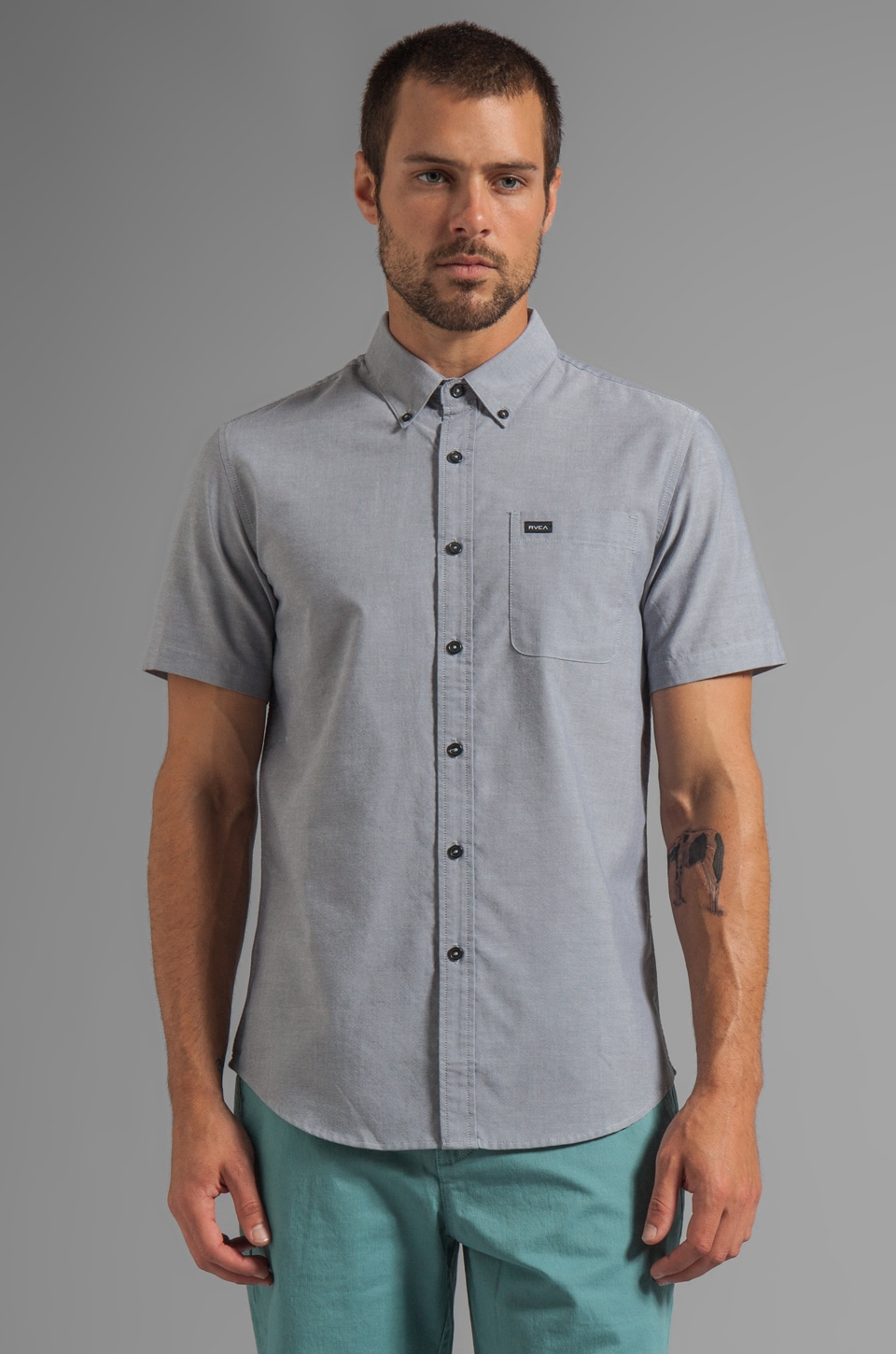 RVCA That'll Do Oxford Short Sleeve Button Down in Pavement