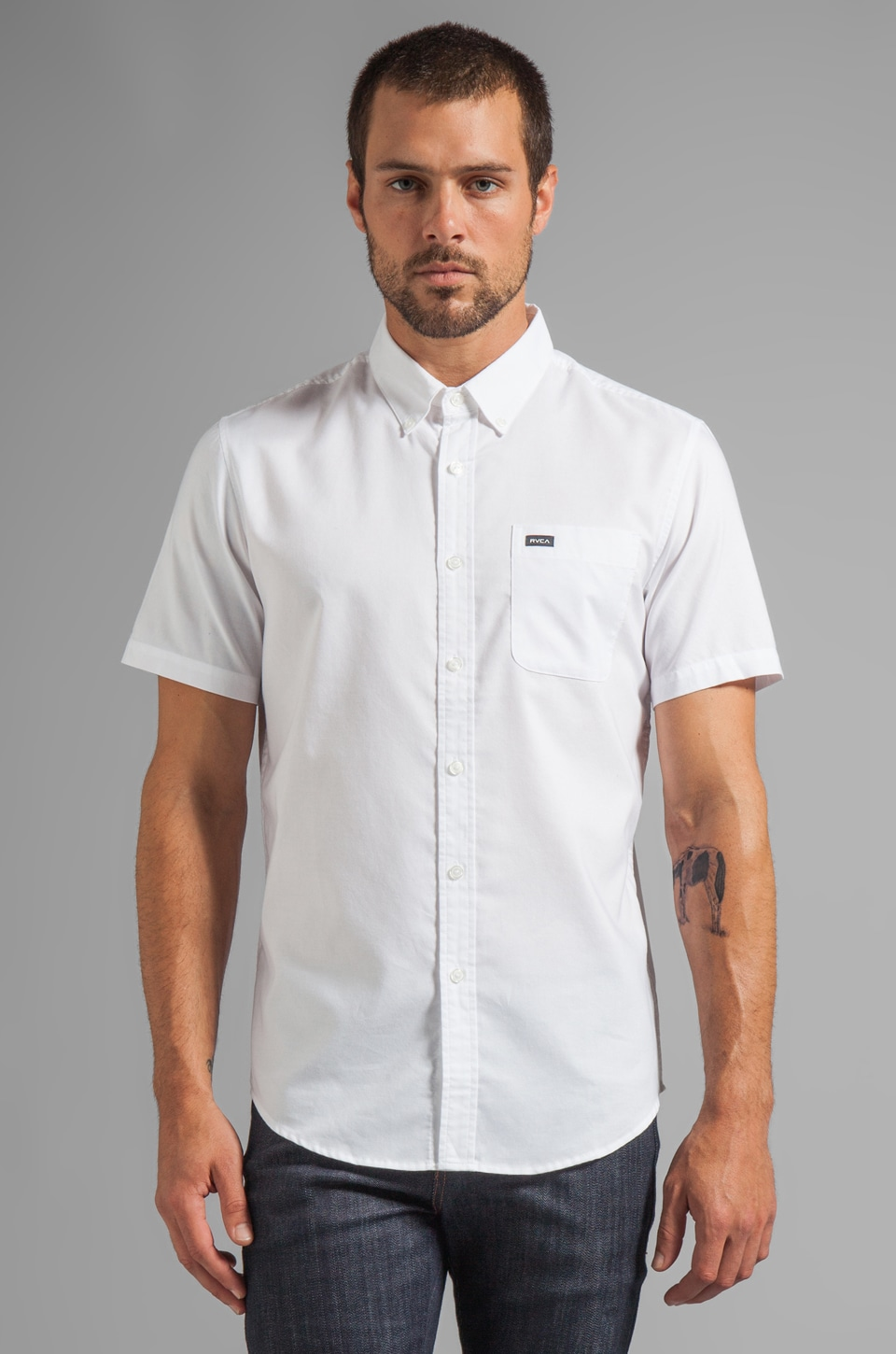 RVCA That'll Do Oxford S/S Shirt in White