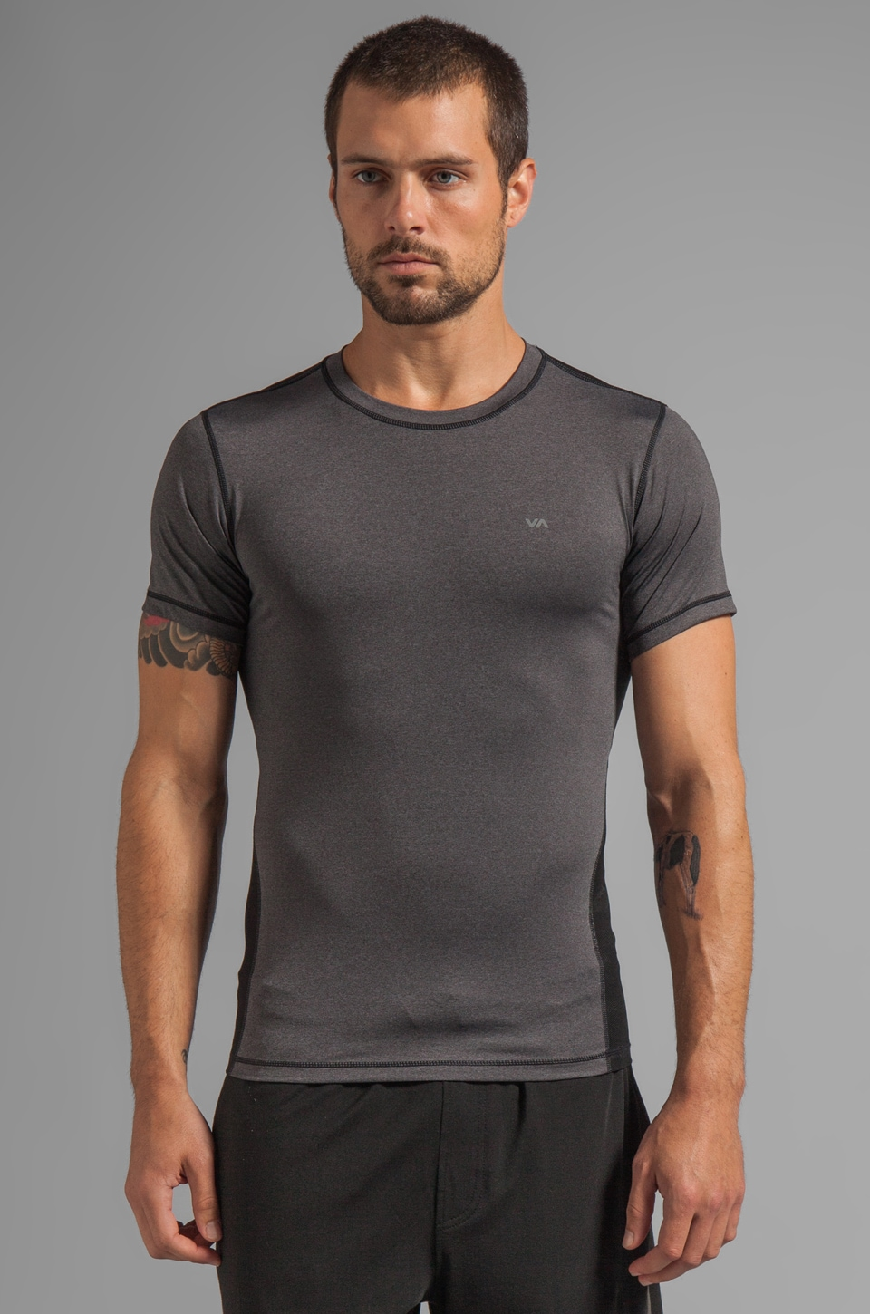 RVCA VA Sport Pressure Short Sleeve Crew Tee in Dark Charcoal Heather