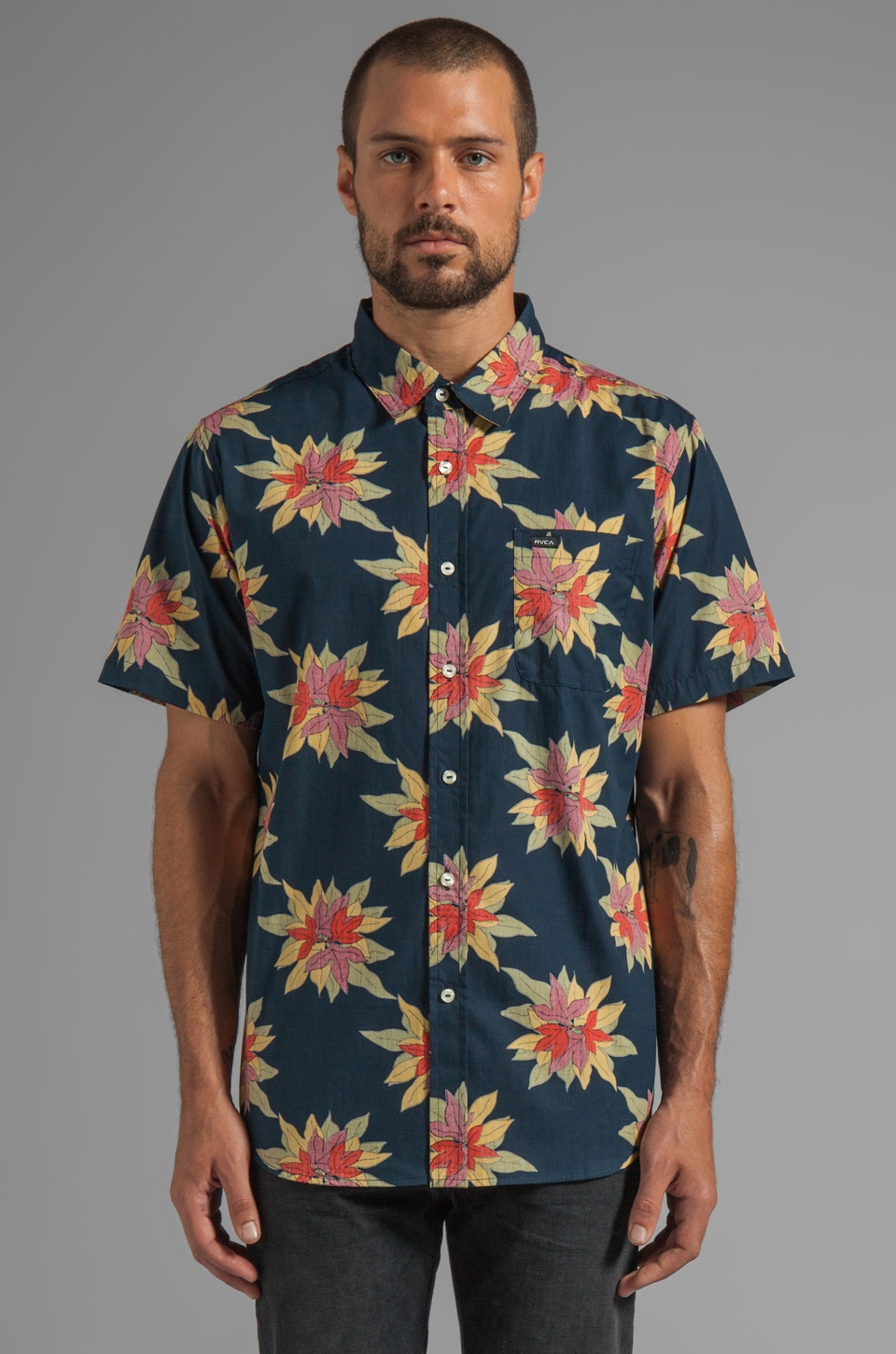 RVCA Fauna Up Short Sleeve Button Down in Midnight