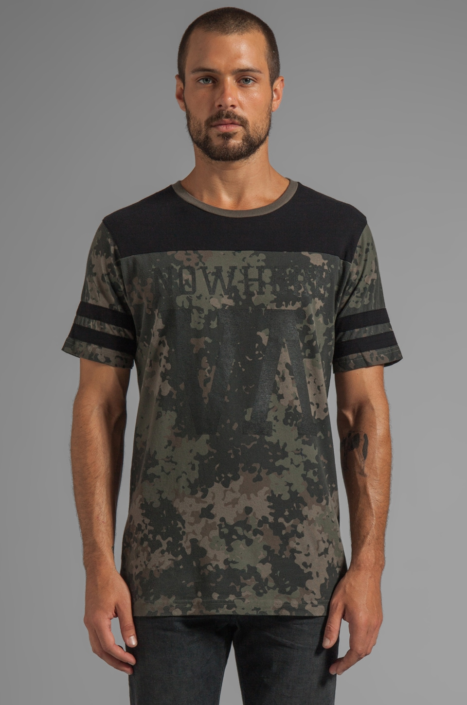 RVCA Nowhere Jersey Graphic Tee in Camo