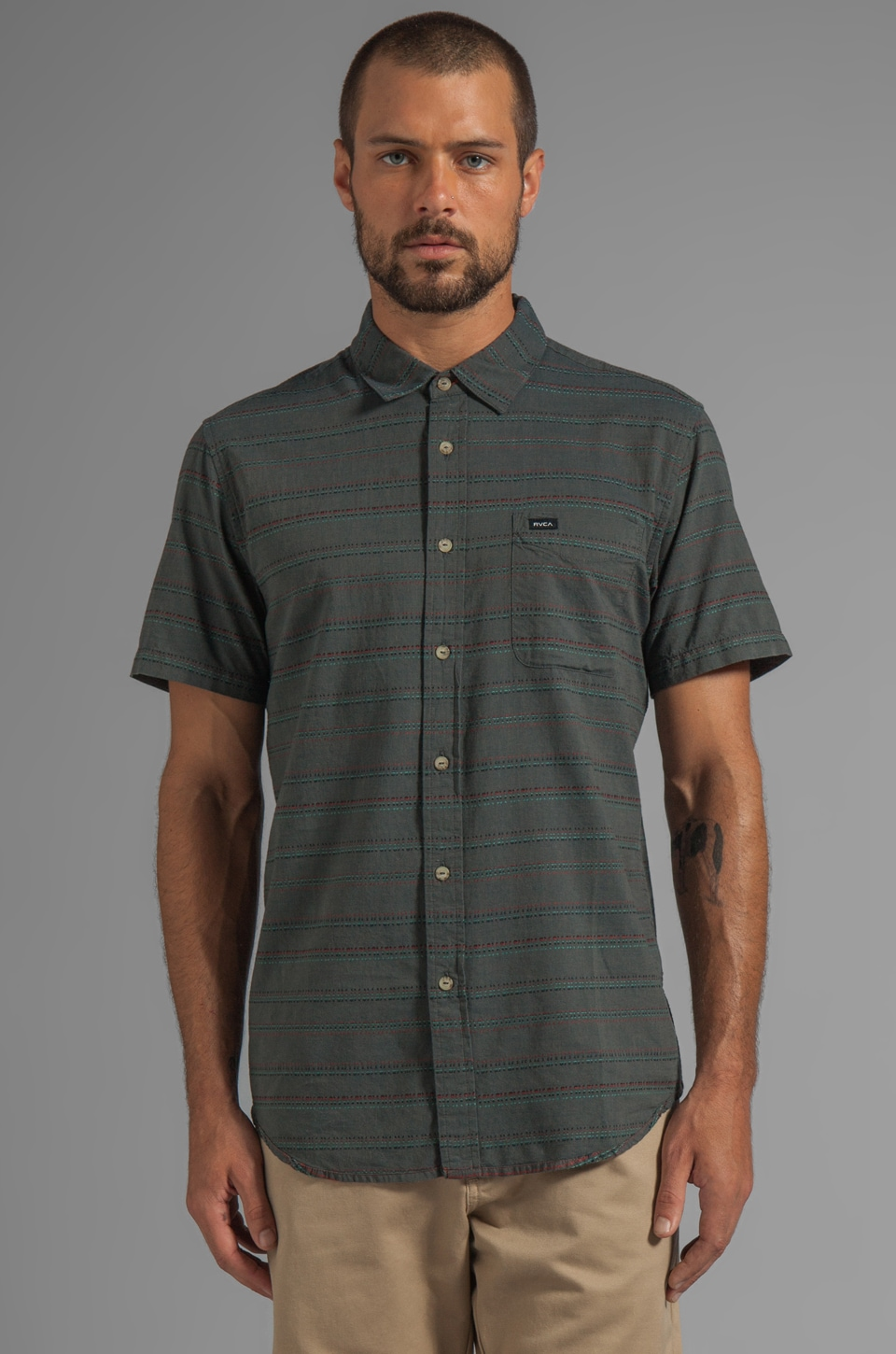 RVCA Fire Keeper S/S Buttondown en Dark Slate