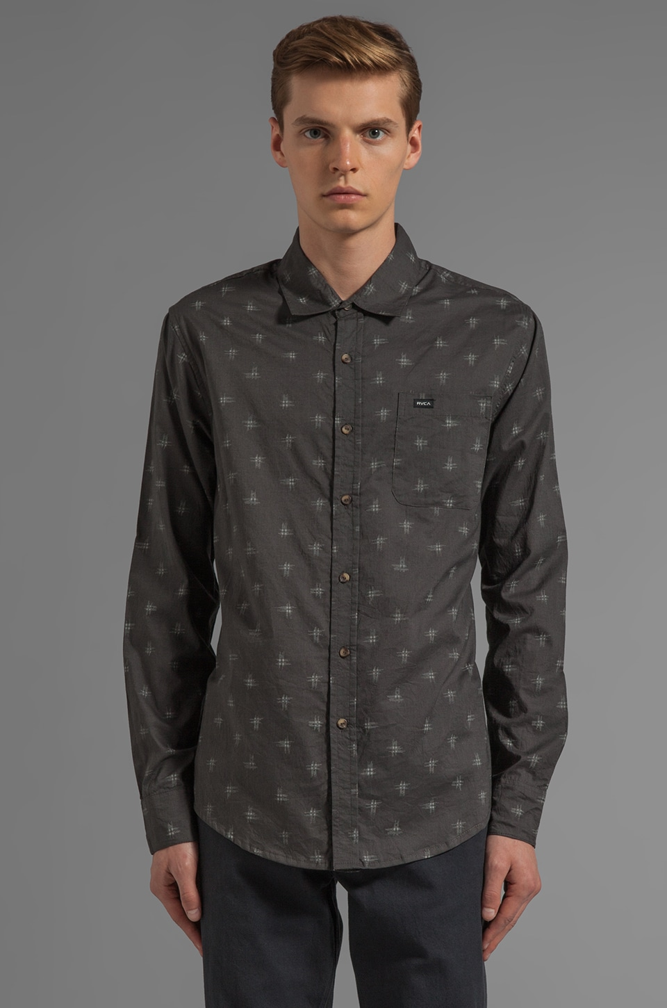 RVCA Bowman L/S Button Down in Dark Slate