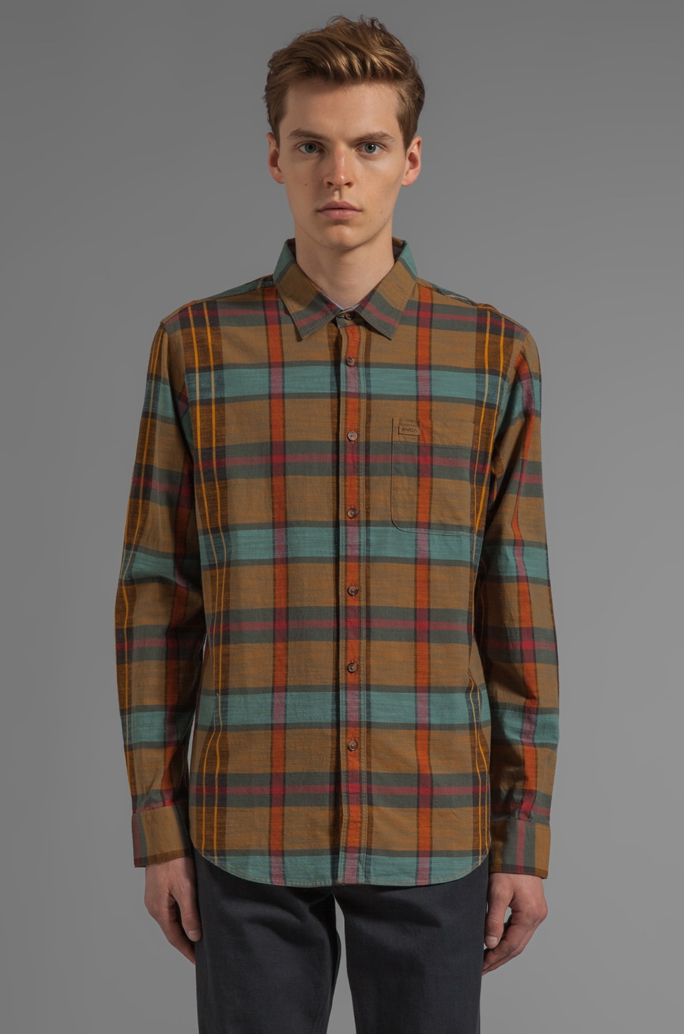 RVCA Hot Shaka Laka L/S Button Down in Cathay Spice