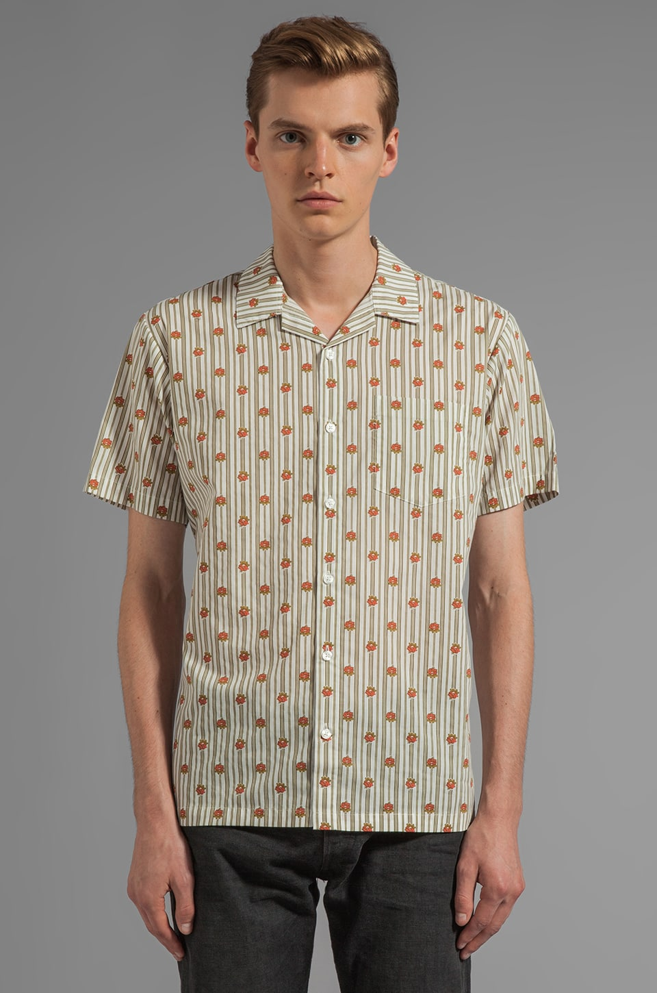 RVCA X Alex Knost Signature Collection Wallpaper S/S Button Down in Avocado