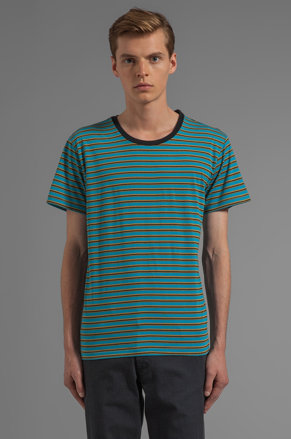 RVCA X Alex Knost Signature Collection Smile S/S Stripe Tee in Blue Jay