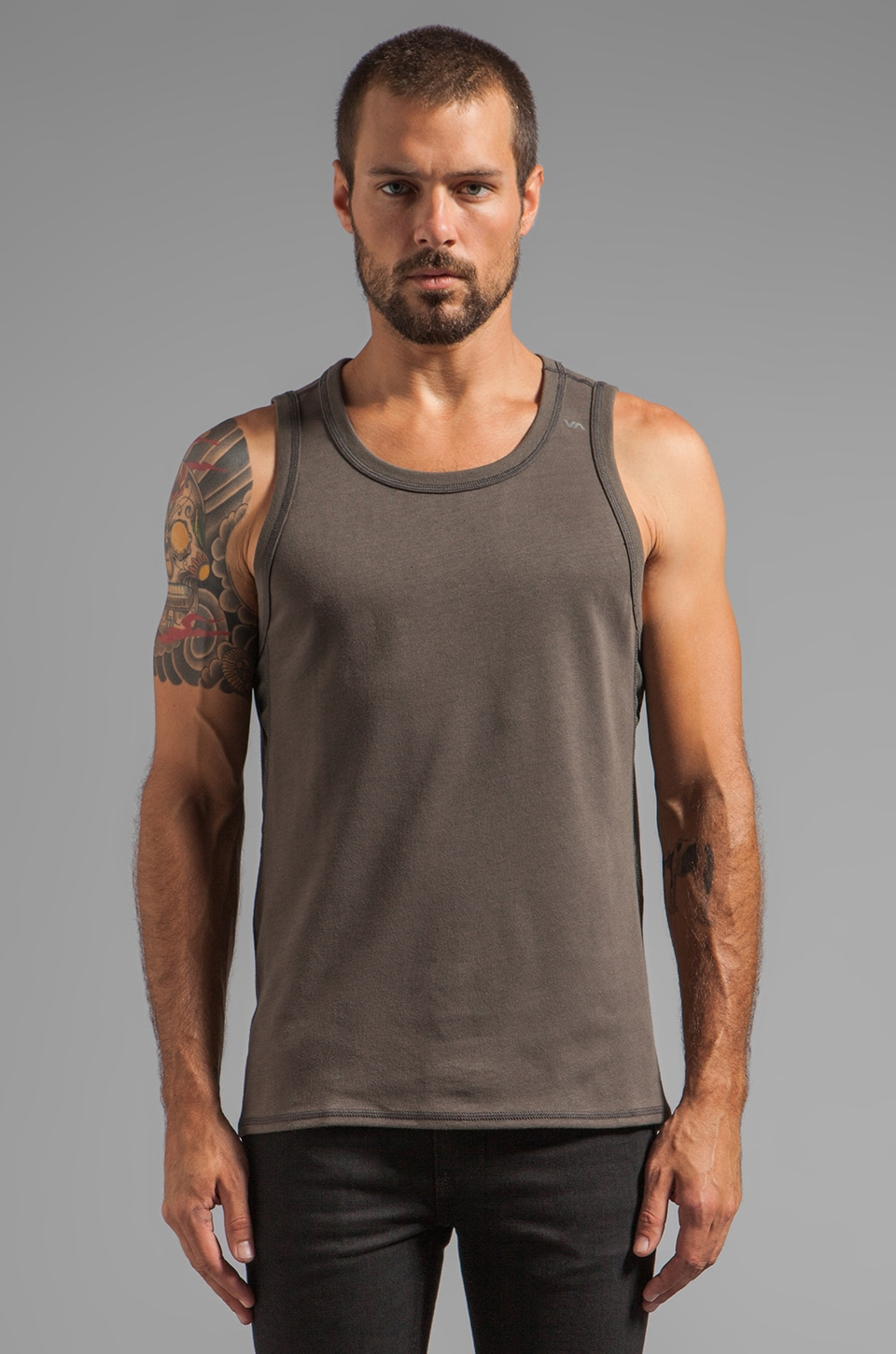 RVCA VA Agyle Tank in Dark Charcoal