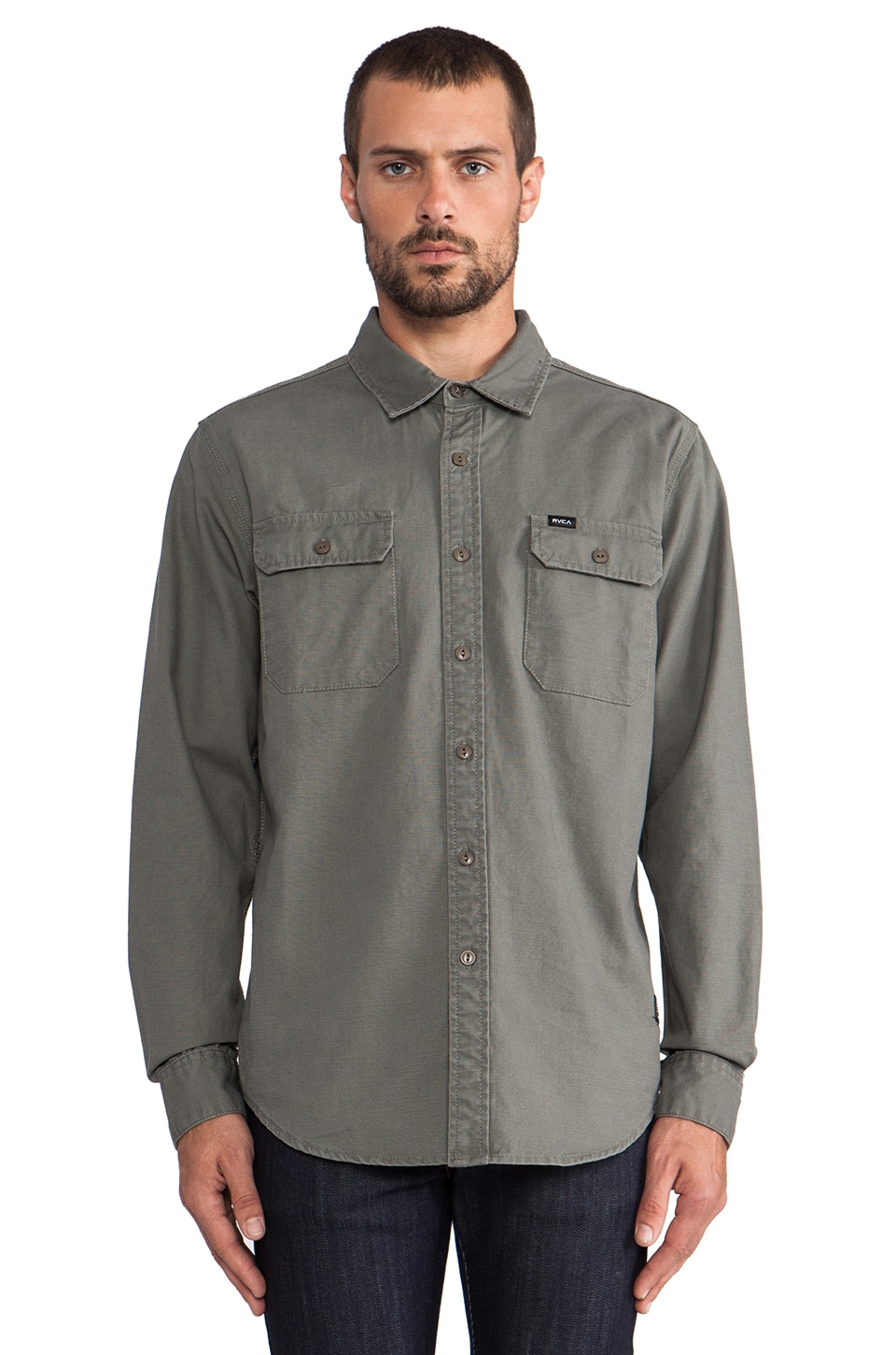 RVCA Highwayman Button Down in Castor Gray