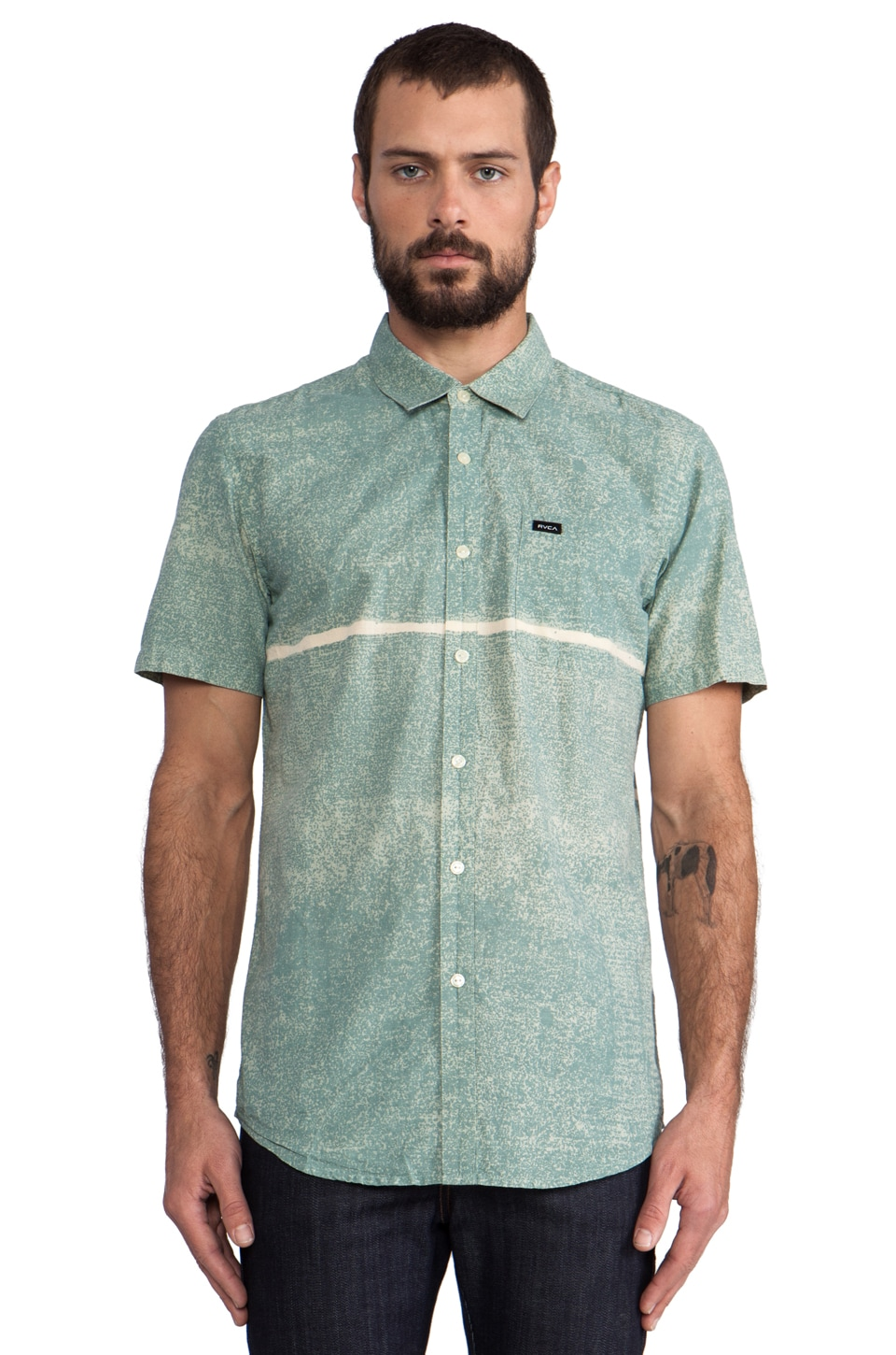 RVCA Resistance Button Down in Blue Surf