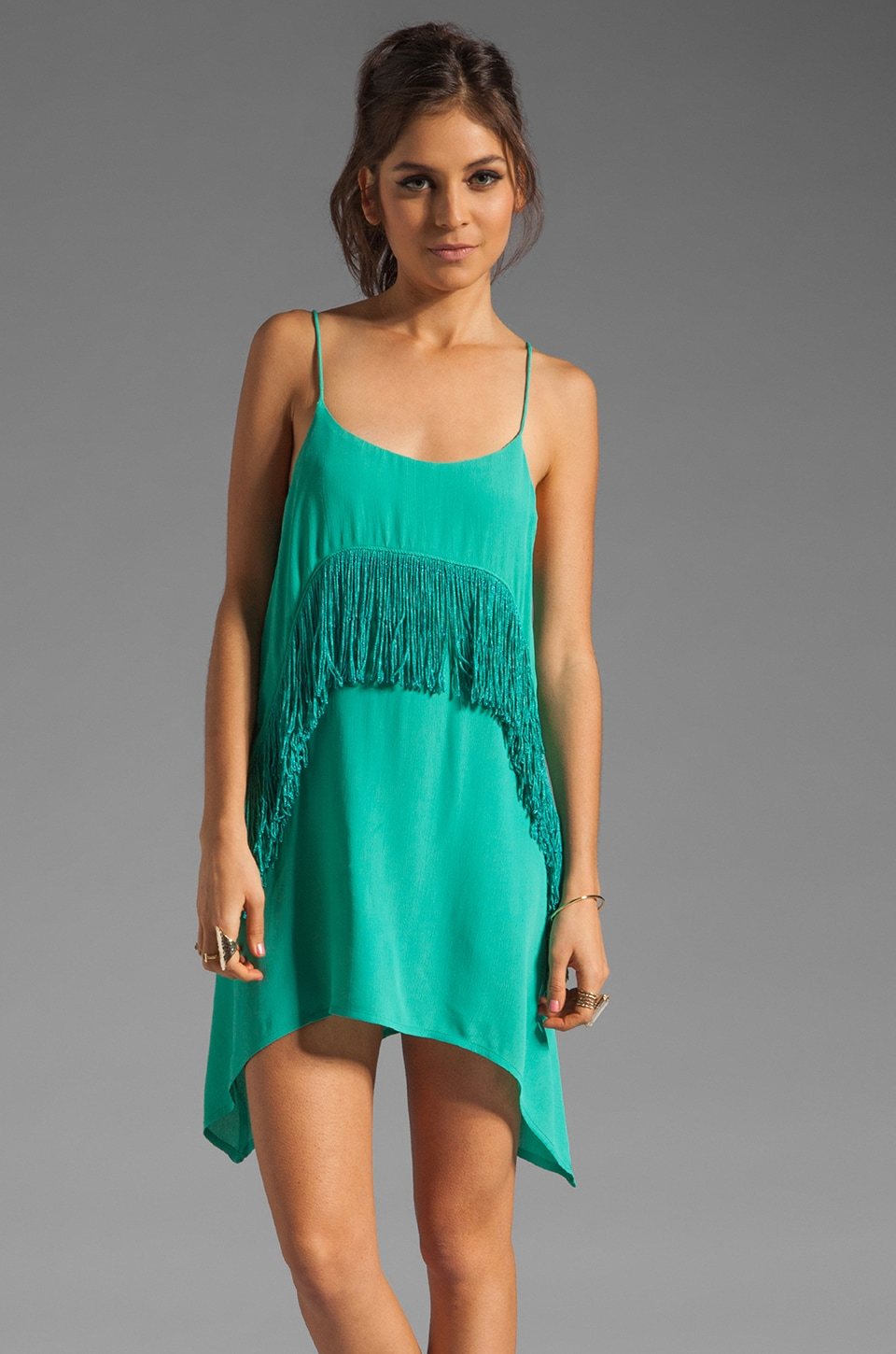 RVCA Black Metal Fringe Dress in Lagoon