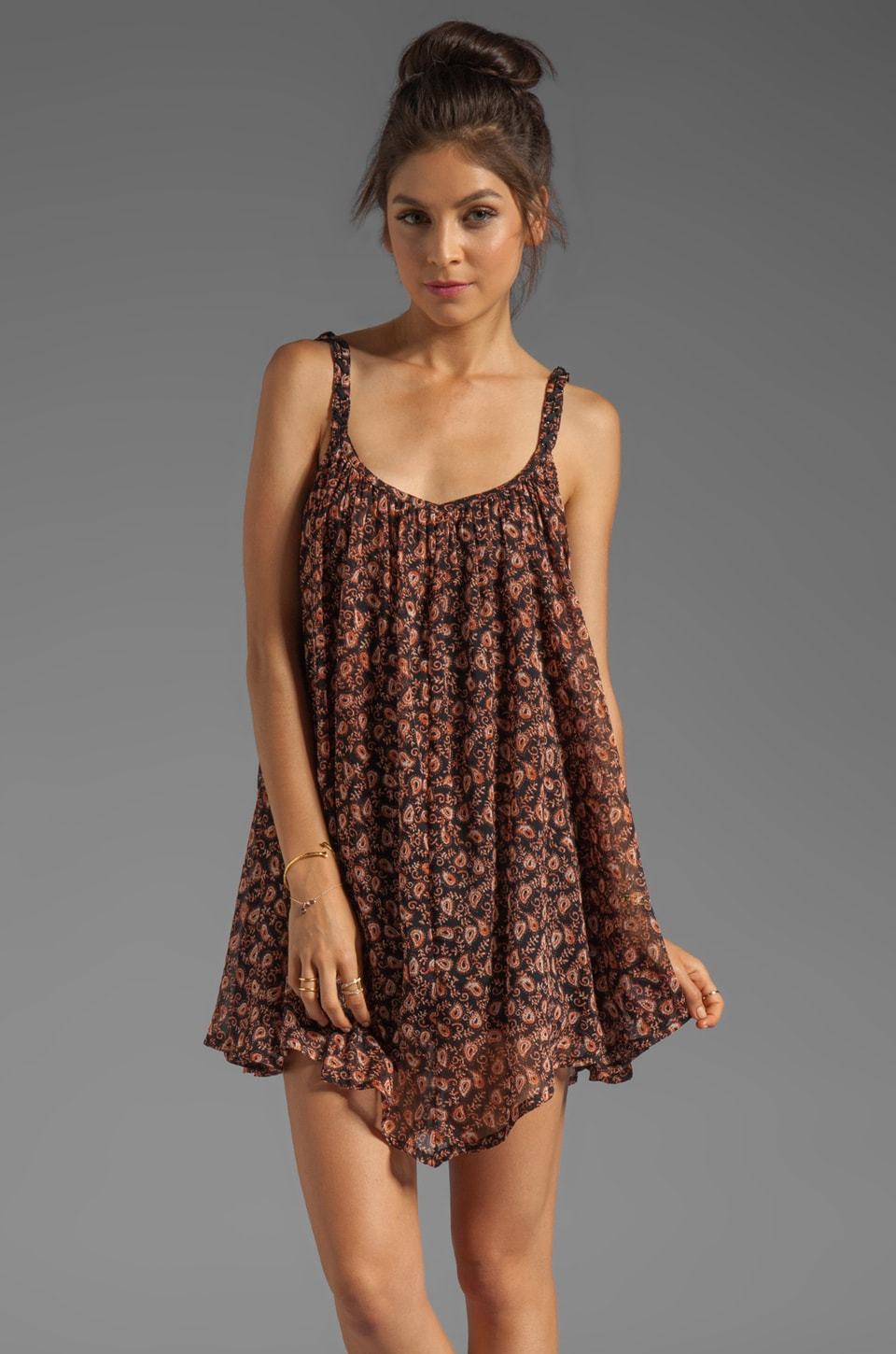 RVCA Armonk Sleeveless Paisley Print Dress with Asymmetrical Hem in Black