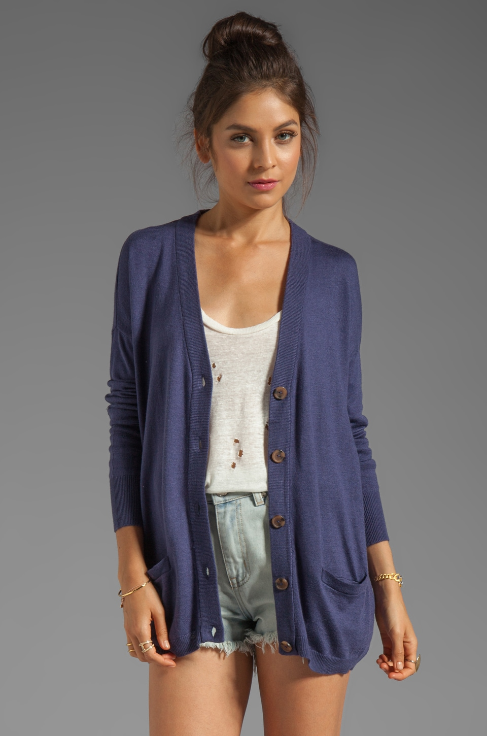 RVCA Shoals V Neck Cardigan with Elbow Patches in Navy