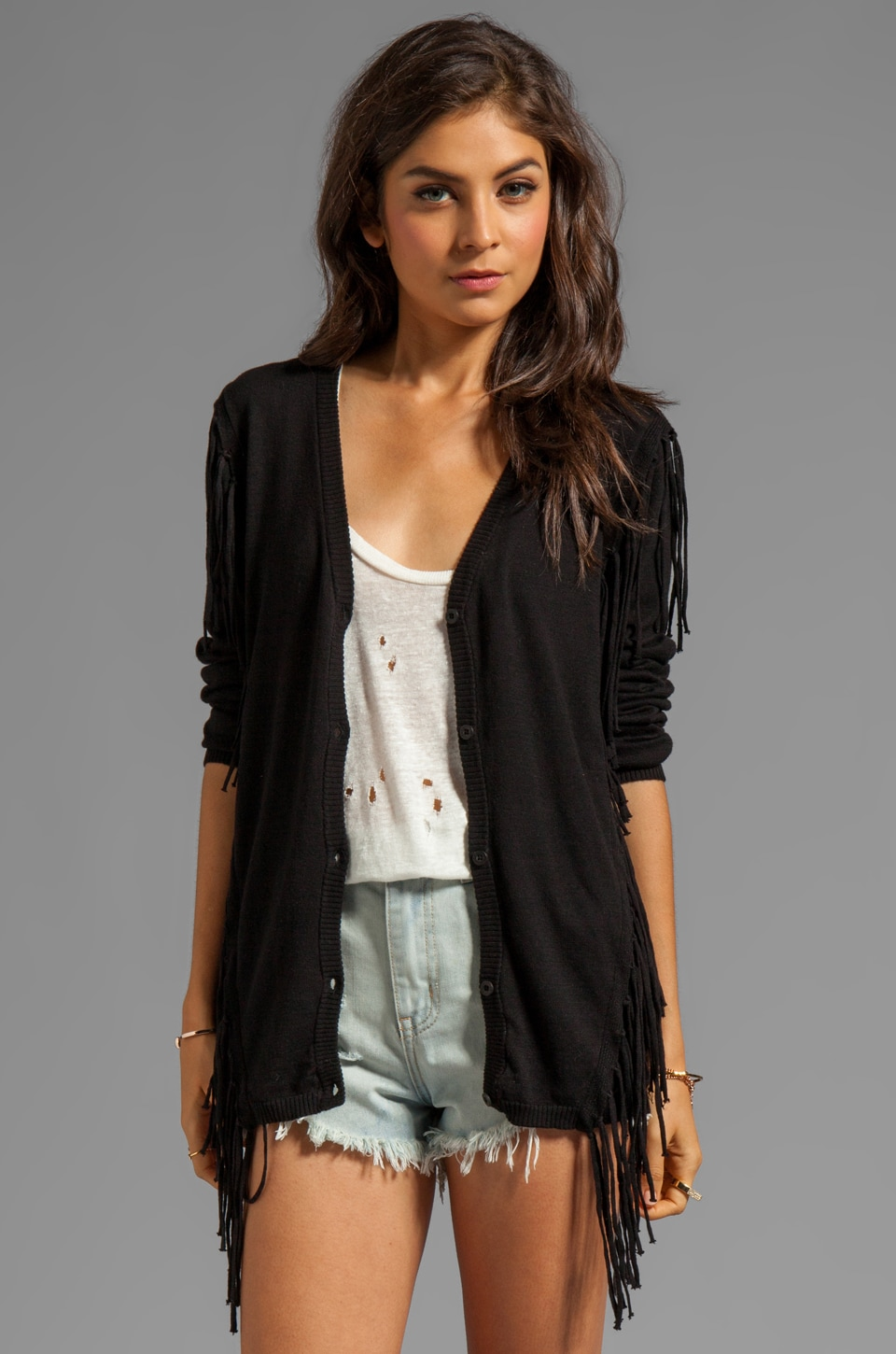 RVCA Whiskey V Neck Cardigan with Fringe in Black