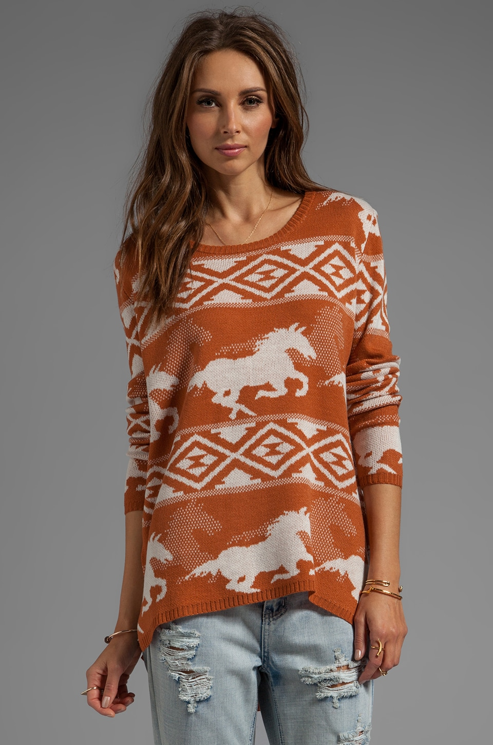 RVCA Buddy Knit Pullover Sweater with Wild Horses Jacquard Artwork in Amber