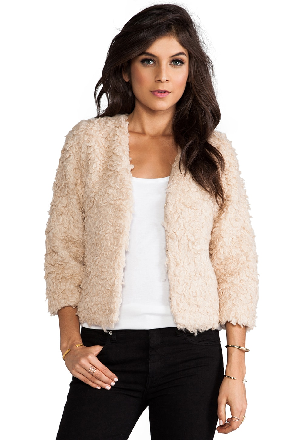 RVCA Browne Faux Fur Jacket in Sand