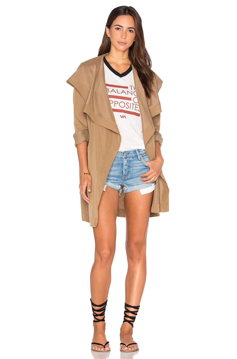 RVCA Drape Me A River Trench Coat in Camel