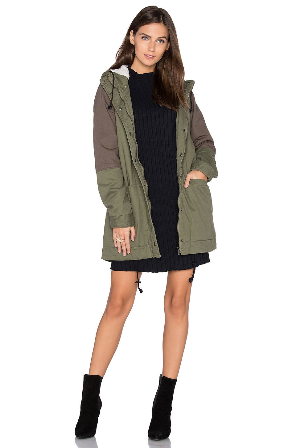 RVCA Midnight Faux Fur Lined Jacket in Dusty Olive