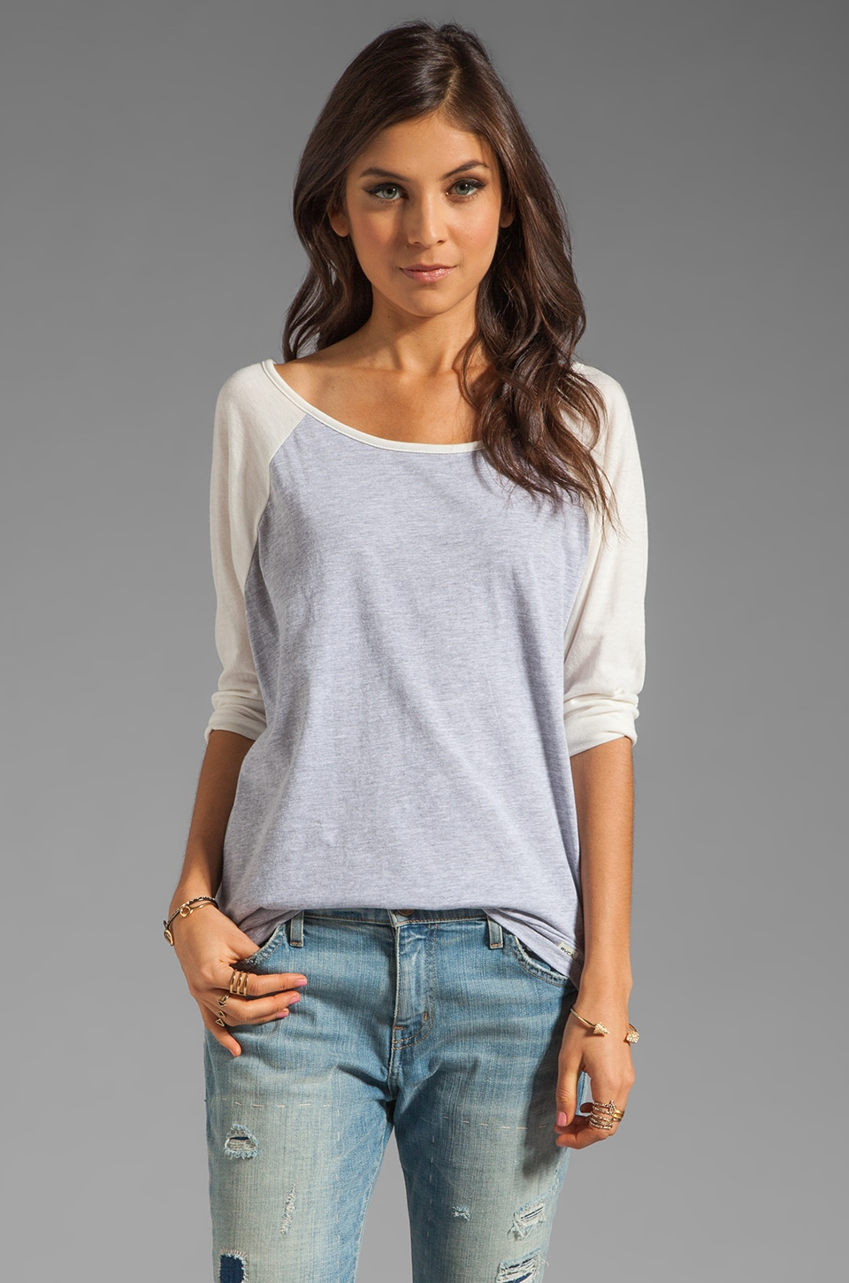 RVCA Label Ziggy Baseball Tee in Grey Noise/Marshmellow