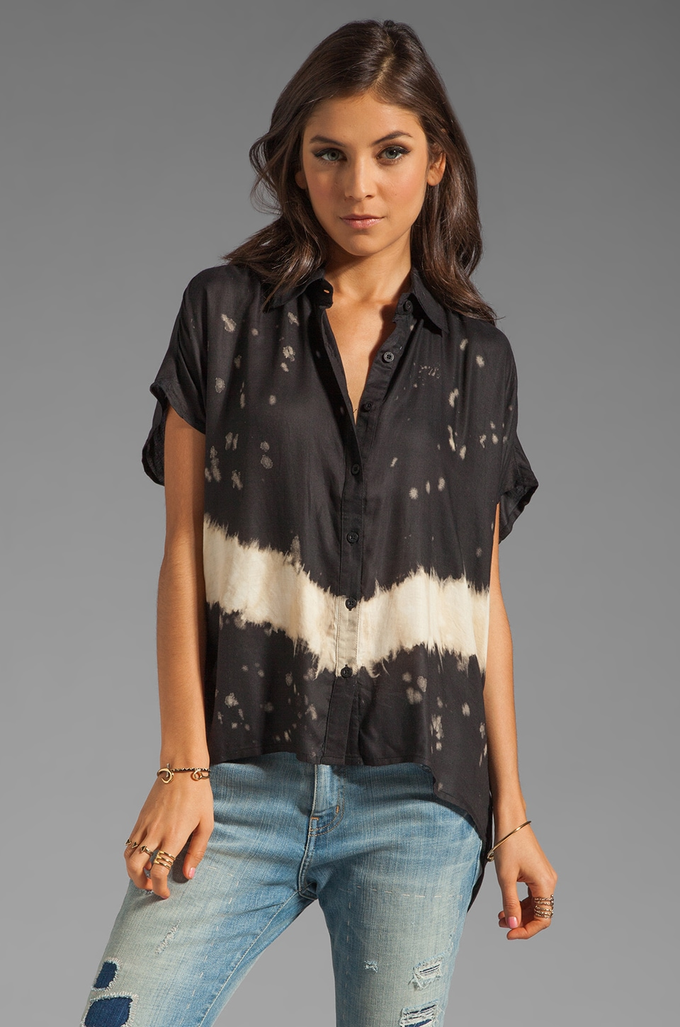 RVCA Canyon Shadow Button Down Tee in Black